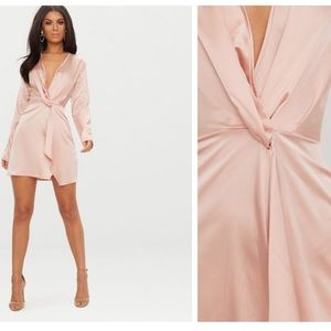 Pretty Little Thing Blush Pink Mini Wrap Dress NWT